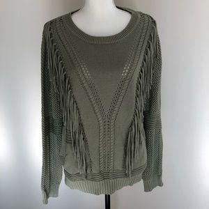 Green, Fringed Sweater